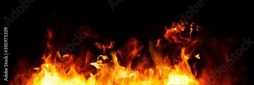 Valokuvatapetti Panorama Fire flames on black background.