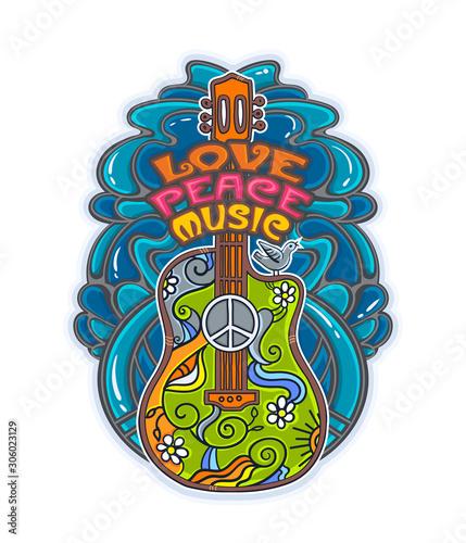 фотография hippie musical poster with guitar
