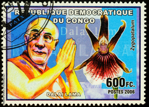 Portrait of Dalai Lama XIV on postage stamp Fototapeta
