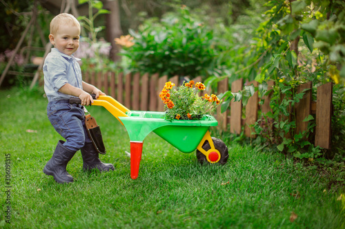 Fotografia Child gardener with garden wheelbarrow and flowers