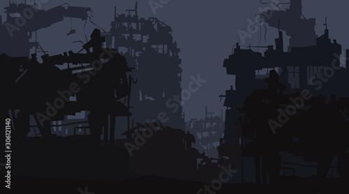 Obraz na plátně cartoon background of the ruins of the city of post apocalypse