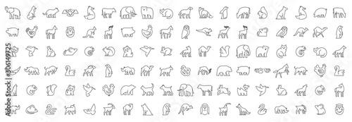 Fototapeta premium Liniowy zbiór ikon zwierząt. Zestaw ikon zwierząt. Na białym tle