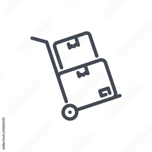 Fototapeta Dolly with boxes line icon
