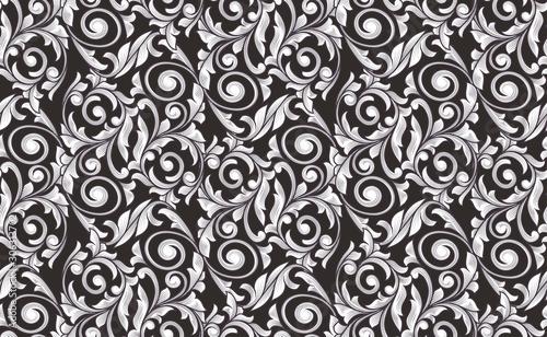 Fotografie, Obraz Retro decorative black and white seamless pattern