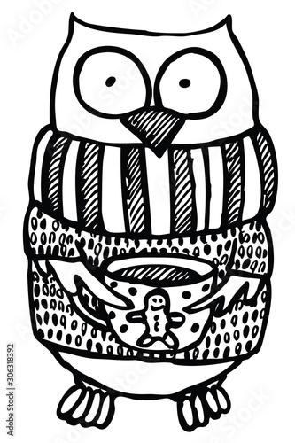 Naklejki na drzwi Ręcznie rysowana śmieszna sowa w swetrze z filiżanką
