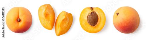 Obraz na plátně Fresh ripe whole, half and sliced apricot