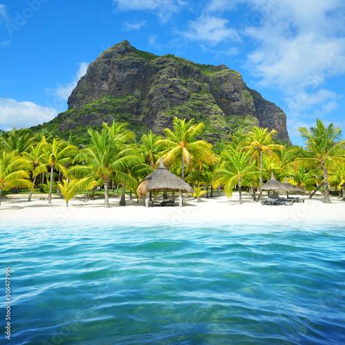 Fototapeta Beautiful sandy beach with Le Morne Brabant mountain on the south of Mauritius island