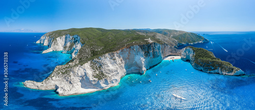 Obraz na plátně Aerial panorama drone shot of Zakynthos north end with Navagio beach and yachts