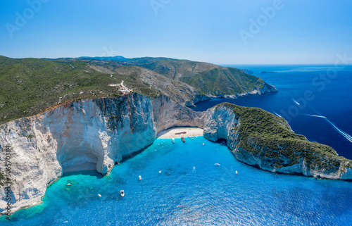 Fotografie, Obraz Aerial panorama drone shot of Zakynthos north end with Navagio beach and yachts