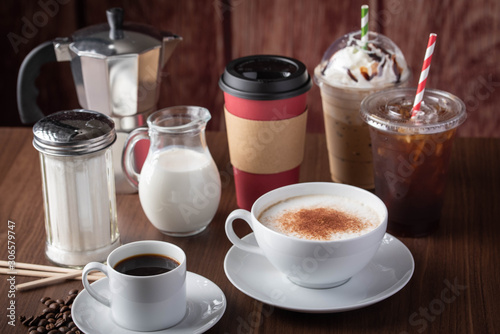 variety of coffee drinks, cafe image Fototapet