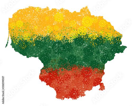 Obraz na płótnie Flag and map of Lithuania with snowflakes