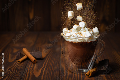 Photo hot chocolate or cocoa in cup