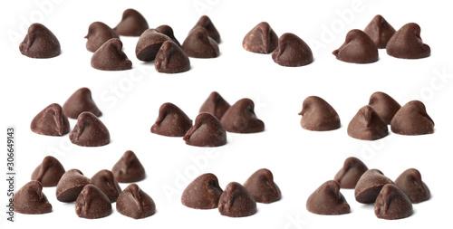 Fotografie, Obraz Set of tasty chocolate chips isolated on white