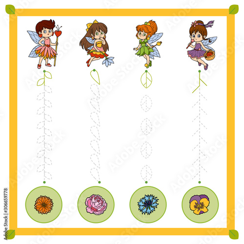 Trace the dotted lines from fairies to flowers. Connect the dots, education game for children