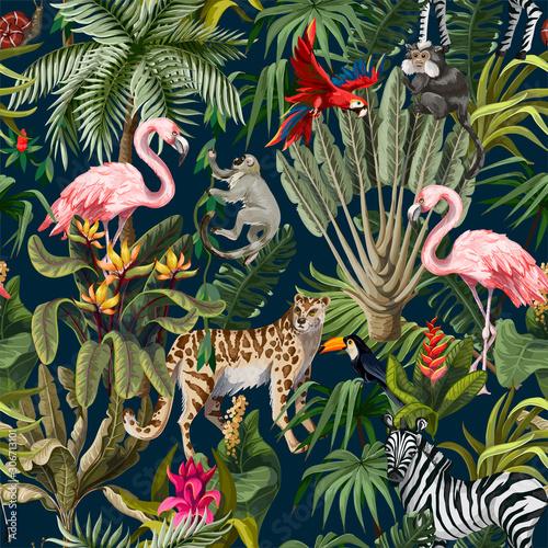 Fototapeta Wzór z dżungli zwierząt, kwiatów i drzew. Wektor.