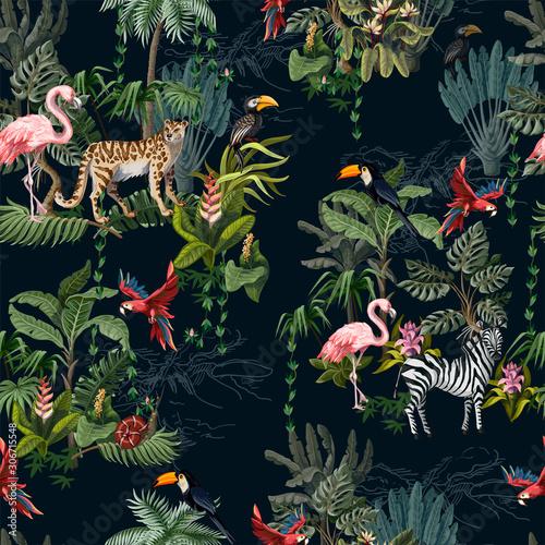 Naklejki na meble Wzór ze zwierząt dżungli, kwiatów i drzew na ciemnym tle
