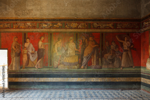 Canvas Print Fresco covers walls of villa of the mysteries in Pompeii (Pompei)