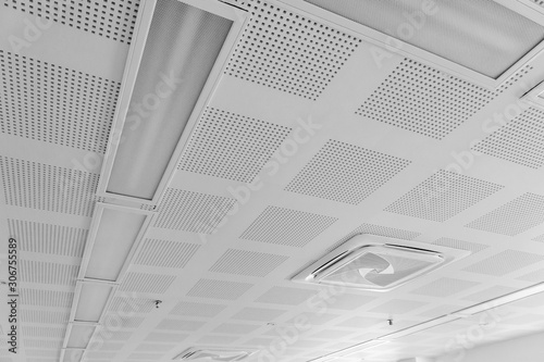 Canvas acoustic ceiling with lighting and air condition