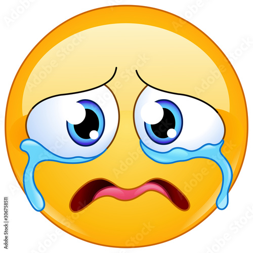 sad crying emoticon Fotobehang