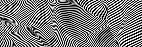 Fototapeta premium Streszczenie paski powierzchni, czarno-białe oryginalne renderowanie 3d