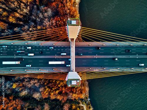 Beautiful panoramic aerial drone view to cable-stayed Siekierkowski Bridge over Fototapeta