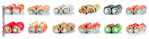 Canvas-taulu Sushi Rolls Set, maki, philadelphia and california rolls, on a white background