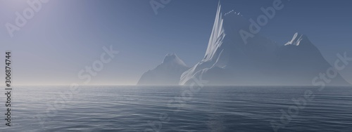 Fotografering Iceberg ice in the ocean, cold seascape. 3d rendering.