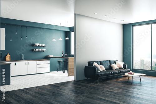 Clean studio kitchen interior