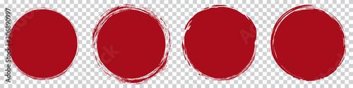 Slika na platnu red round brush painted circle banner on transparent background