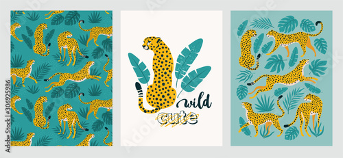 Fotografia Vector poster set of leopards and tropical leaves