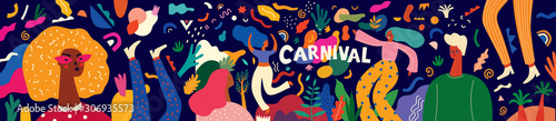 Foto Beautiful holiday vector illustration with design for Brazil Carnival or party