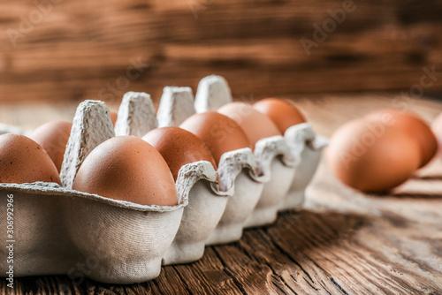 Obraz na płótnie Eggs in basket