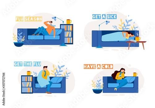 Carta da parati Sick People Characters on Sofa Flat Set
