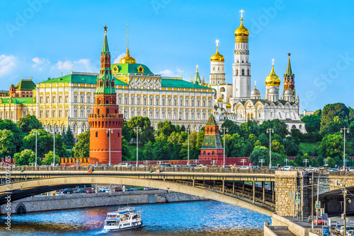 Fototapeta Kremlin across Moskva river, classic postcard view, Moscow, Russia