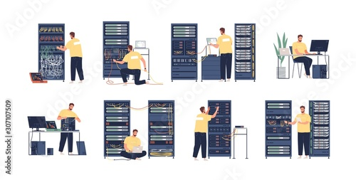 Photographie System administrator flat vector illustrations set