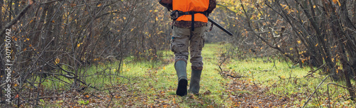 Fotografie, Obraz A man with a gun in his hands and an orange vest on a pheasant hunt in a wooded area in cloudy weather