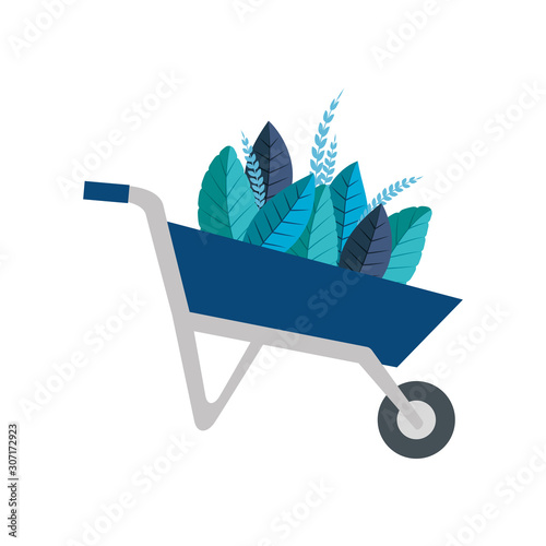 Fotografia Wheelbarrow with leaves design, Garden summer spring nature home and floral them