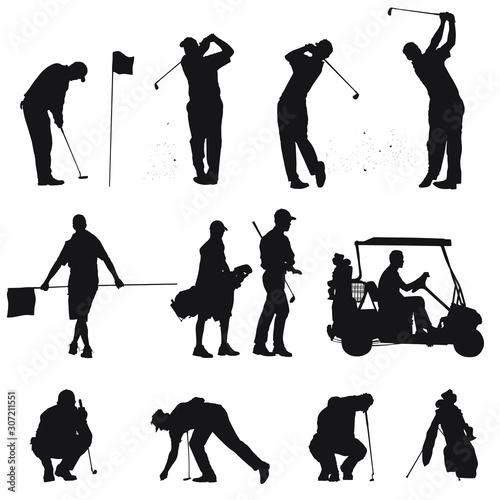 Tablou Canvas Vector silhouettes of men golfing