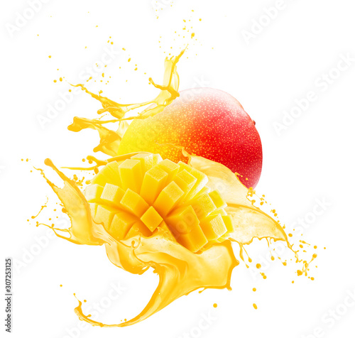 Wallpaper Mural mango in juice splash isolated on a white background