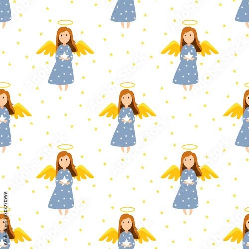 Stampa su Tela Christmas cute angels seamless pattern