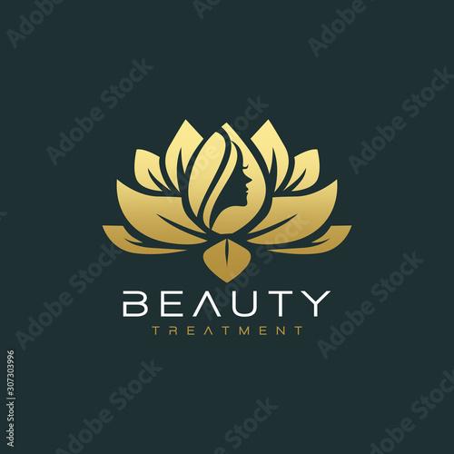 lotus flower beauty salon and hair treatment logo