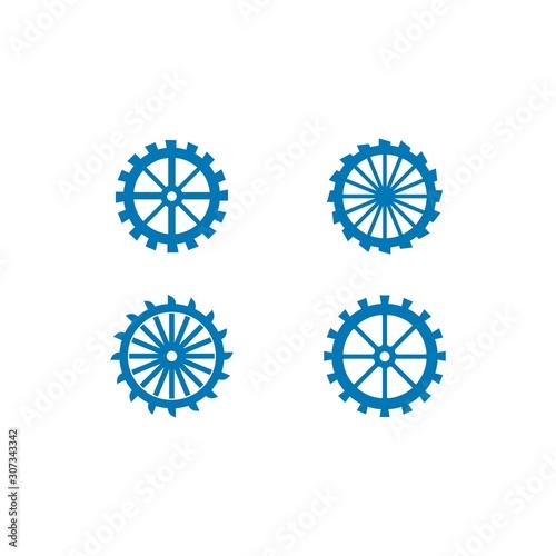 Canvas-taulu Water mill logo vector icon concept illustration design