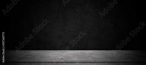 The black room, perspective cement floor or concrete shelf table, used as a studio background wall to display your products.loft style