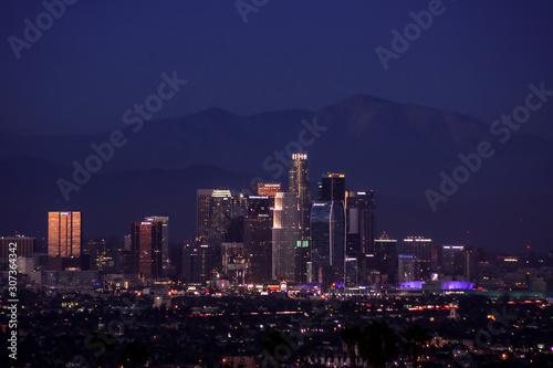 Fototapeta Downtown Los Angeles Skyline at Night