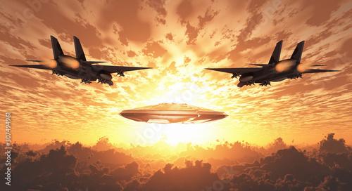 Fotografia, Obraz Military Jets Pursue UFO. Sunset or sunrise