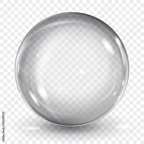 Canvas Print Big translucent gray sphere with glares and shadow on transparent background