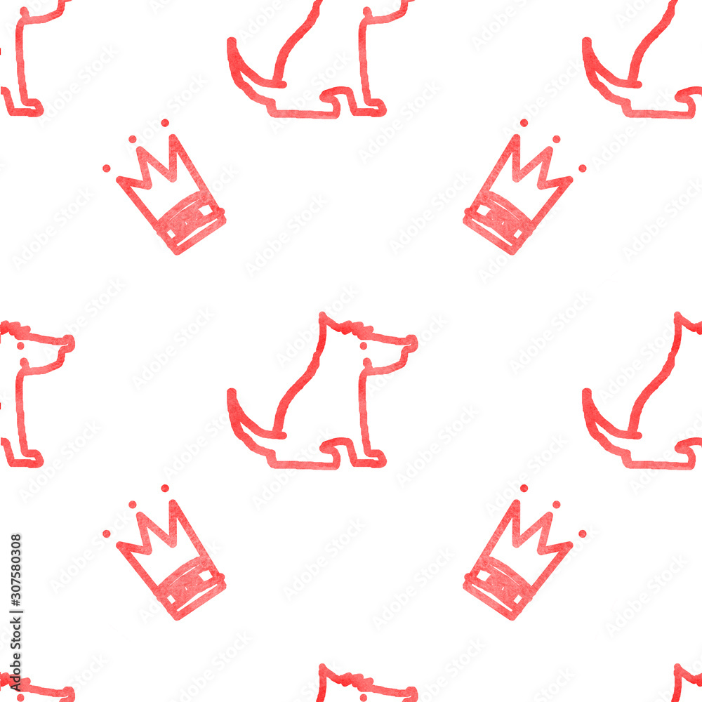 Seamless pattern with dogs and crowns <span>plik: #307580308   autor: suns07butterfly</span>