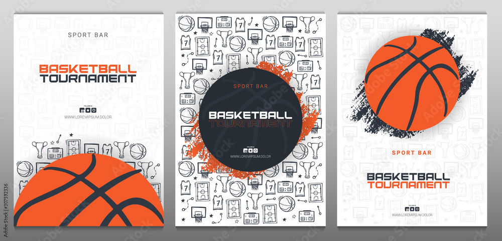 Set of Basketball Tournament banners with basketball ball and hand draw doodle background. Modern sports posters design. <span>plik: #307592336   autor: leo_d</span>