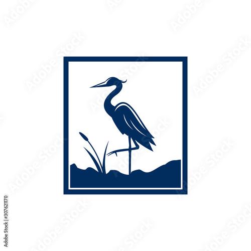 Blue Heron Logo Fototapet