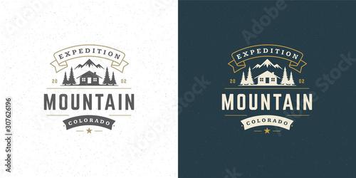 Fotografija Forest camping logo emblem vector summer camping illustration mountains with cab
